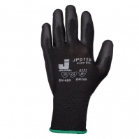 Защитные перчатки с полиуретановым покрытием. Р-ры: 10/XL. Цвет - черный. JETA
