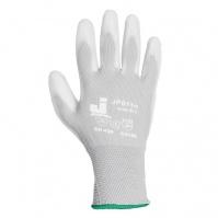 Защитные перчатки с полиуретановым покрытием. Р-ры: 9/L. Цвет - белый. JETA