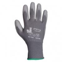 Защитные перчатки с полиуретановым покрытием. Р-ры: 9/L. Цвет - серый. JETA
