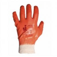 Защитные перчатки с полным нитриловым покрытием.  Размеры: 9/L. Цвет - оранжевый. JETA