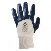 Защитные перчатки с полным нитриловым покрытием. Вязаная манжета. Синие. Размеры: 9/L JETA
