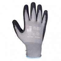 Защитные перчатки с рельефным латексным покрытием. Размеры: 9/L Цвет - серый/черный.  JETA