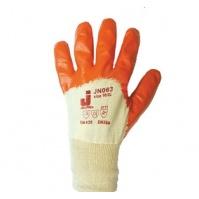 Защитные перчатки с частичным нитриловым покрытием.  Размеры: 10/XL. Цвет - оранжевый. JETA