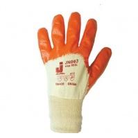 Защитные перчатки с частичным нитриловым покрытием.  Размеры: 9/L. Цвет - оранжевый. JETA
