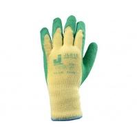 Защитные промышленные перчатки с рельефное латексным покрытием Размеры: 9/L. Цвет - желтый/зеленый.