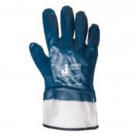 """Перчатки с полным нитриловым покрытием. Защитная манжета """"крага"""". Синие. Размеры: 9/L JETA"""