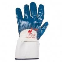 """Перчатки с частичным нитриловым покрытием. Защитная манжета """"крага"""". Синие. Размеры: 9/L. JETA"""