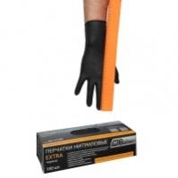 Перчатки нитриловые черные Экстра, 285 мм, толщина-0,15 мм, 100шт. Размеры L коробка-диспенсер AB