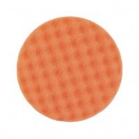 Средней жесткости поролоновый полировальный диск с рифленой рабочей поверхностью, оранжевый 150x25мм