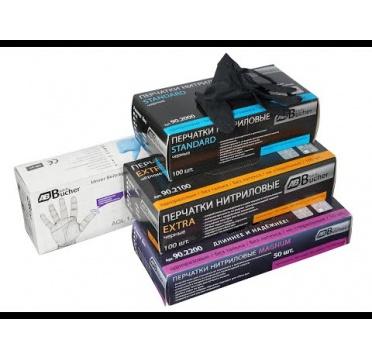 Перчатки нитриловые черные Экстра, 285 мм, толщина-0,15 мм, 100шт. Размеры M коробка-диспенсер AB